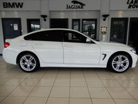 USED 2018 68 BMW 4 SERIES 2.0 420D XDRIVE M SPORT GRAN COUPE 4d AUTO 188 BHP FINISHED IN STUNNING ALPINE WHITE WITH BEAUTIFULLY CONTRASTING FULL BLACK LEATHER HEATED SEATS + PROFESSIONAL SATELLITE NAVIGATION + PROFESSIONAL MEDIA PACKAGE + 1 OWNER FROM NEW + DAB DIGITAL RADIO + BLUETOOTH MUSIC INTERFACE + PRIVACY GLASS + FRONT/REAR PARK ASSIST + HIGH BEAM ASSIST + ADAPTIVE CRUISE + POWER FOLDING MIRRORS + AUTO LIGHTS + VOICE COMMAND + PADDLE SHIFT GEARS + 60/40 REAR FOLDING SEATS + RAIN SENSORS + WIFI CONNECTIVITY + APP CONNECT + SELECTABLE DRIVING MODES + IN CAR ENTERTAI