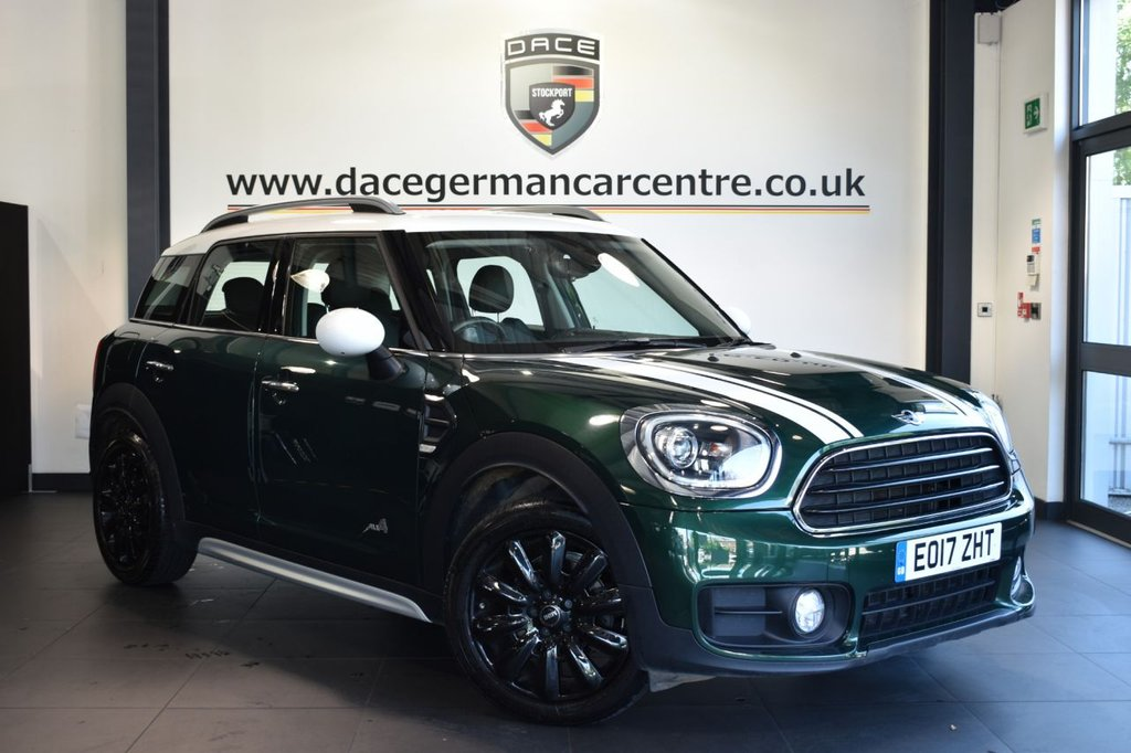 "USED 2017 17 MINI COUNTRYMAN 2.0 COOPER D ALL4 5DR 148 BHP Finished in a stunning british racing metallic green styled with 18"" alloys. Upon opening the drivers door you are presented with full  leather, full service history, satellite navigation, bluetooth, heated seats, reversing camera, MINI Excitement package, cruise control, MINI Driving Modes, LED headlight with extended scopes, LED Fog lights, DAB radio, Automatic air conditioning, Multifunction steering wheel, chili pack, MINI Connected, parking sensors"