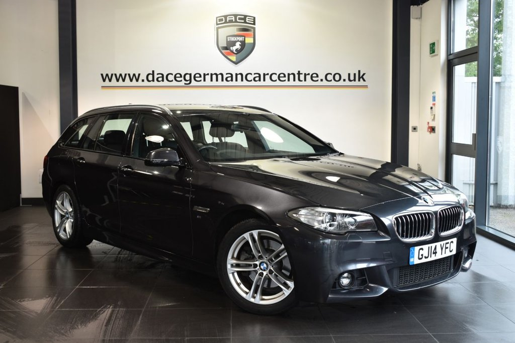 "USED 2014 14 BMW 5 SERIES 2.0 520D M SPORT TOURING 5DR AUTO 181 BHP Finished in a stunning brilliant metallic black styled with 18"" alloys. Upon opening the drivers door you are presented with full leather interior, full service history, satellite navigation, bluetooth, heated sport seats, cruise control, DAB radio, LED Fog lights, Headlight cleaning system, Driving experience switch incl. ECO PRO, parking sensors"