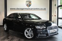 "USED 2016 66 AUDI A4 2.0 TDI S LINE 4DR AUTO 148 BHP Finished in a stunning black styled with 18"" alloys. Upon opening the drivers door you are presented with cloth upholstery, full service history, satellite navigation, bluetooth, heated seats, xenon lights, cruise control, DAB radio, multi functional steering wheel, heated mirrors, climate control, parking sensors"