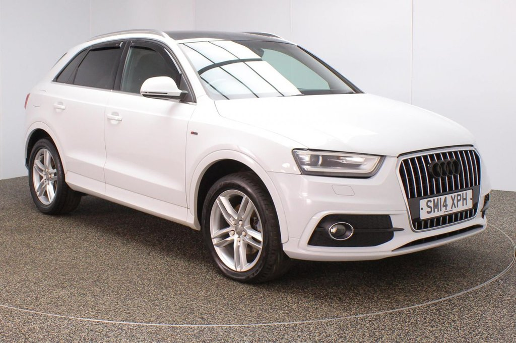 USED 2014 14 AUDI Q3 1.4 TFSI S LINE 5DR 150 BHP SERVICE HISTORY + HEATED HALF LEATHER SEATS + PARKING SENSOR + BLUETOOTH + CLIMATE CONTROL + MULTI FUNCTION WHEEL + DAB RADIO + XENON HEADLIGHTS + PRIVACY GLASS + ELECTRIC WINDOWS + ELECTRIC/HEATED DOOR MIRRORS + 18 INCH ALLOY WHEELS
