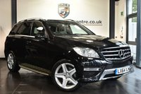 """USED 2014 64 MERCEDES-BENZ M-CLASS 2.1 ML250 BLUETEC AMG SPORT 5DR AUTO 204 BHP Finished in a stunning obsidian black styled with 20"""" alloys. Upon opening the drivers door you are presented with half leather interior, full service history, satellite navigation, bluetooth, heated electric seats, cruise control, AMG styling package, mirror package, electric folding mirrors, active park assist"""