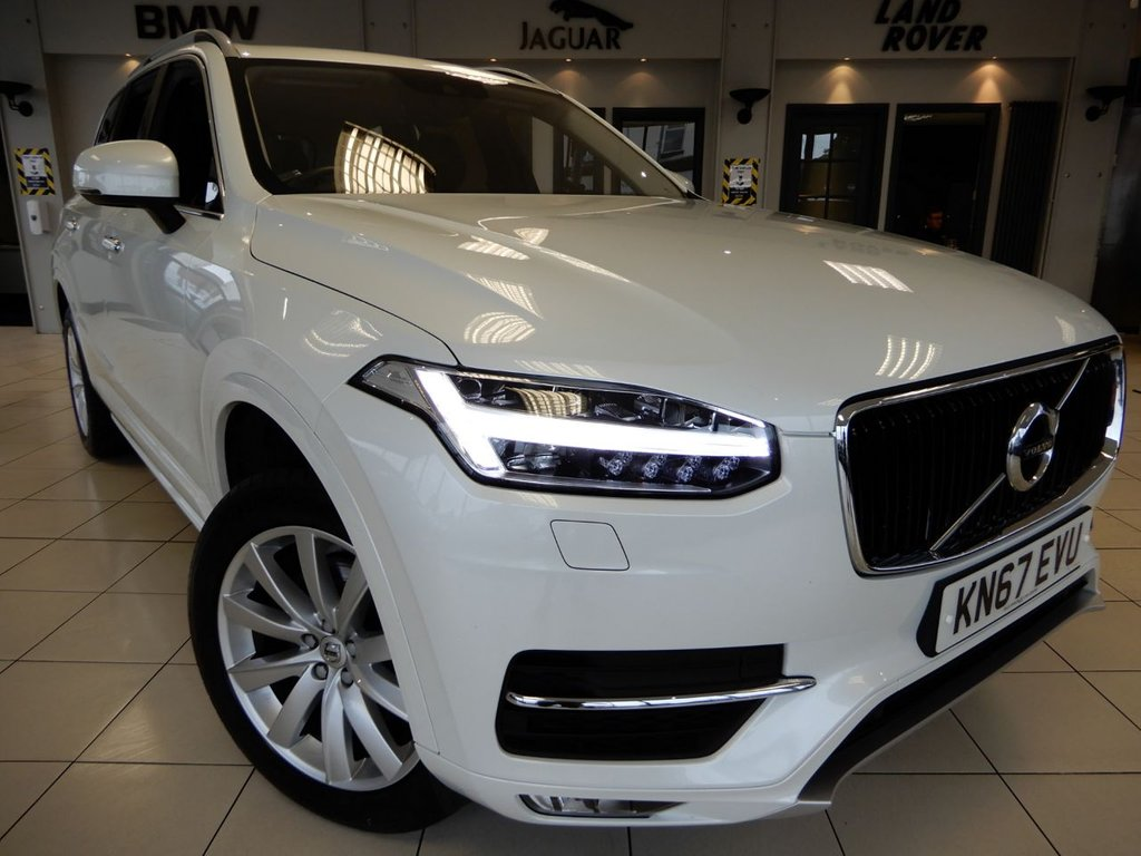 USED 2017 67 VOLVO XC90 2.0 D5 POWERPULSE MOMENTUM PRO AWD 5d 231 BHP FINISHED IN STUNNING PEARL WHITE WITH FULL BLACK LEATHER HEATED SEATS WITH MEMORY PACKAGE + LARGE SCREEN SATELLITE NAVIGATION + FULL MAIN DEALER SERVICE HISTORY + SELF DRIVE WITH ADAPITVE CRUISE CONTROL + DISTANCE ALERT + LANE KEEP ASSIST + ROAD SIGN ASSISTANCE + SPEED LIMIT ASSISTANCE + RED LIGHT DETECTION + ACTIVE PARK ASSIST + DIGITAL CLIMATE CONTROL WITH PARKING CLIMATE PRECONDITIONING + DIGITAL COCKPIT + CORNERING LIGHTS + DUAL ZONE AIR CONDITIONING + CLIMATE CONTROL + VERY INTELLIGENT CAR