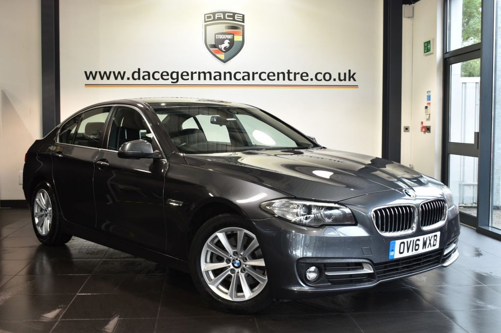 """USED 2016 16 BMW 5 SERIES 2.0 520D SE 4d AUTO 188 BHP Finished in a stunning mineral metallic grey styled with 17"""" alloys. Upon opening the drivers door you are presented with full leather interior, full service history, satellite navigation, bluetooth, heated seats, cruise control, DAB radio, LED Fog lights, Headlight cleaning system, Driving experience switch incl. ECO PRO, parking sensors"""