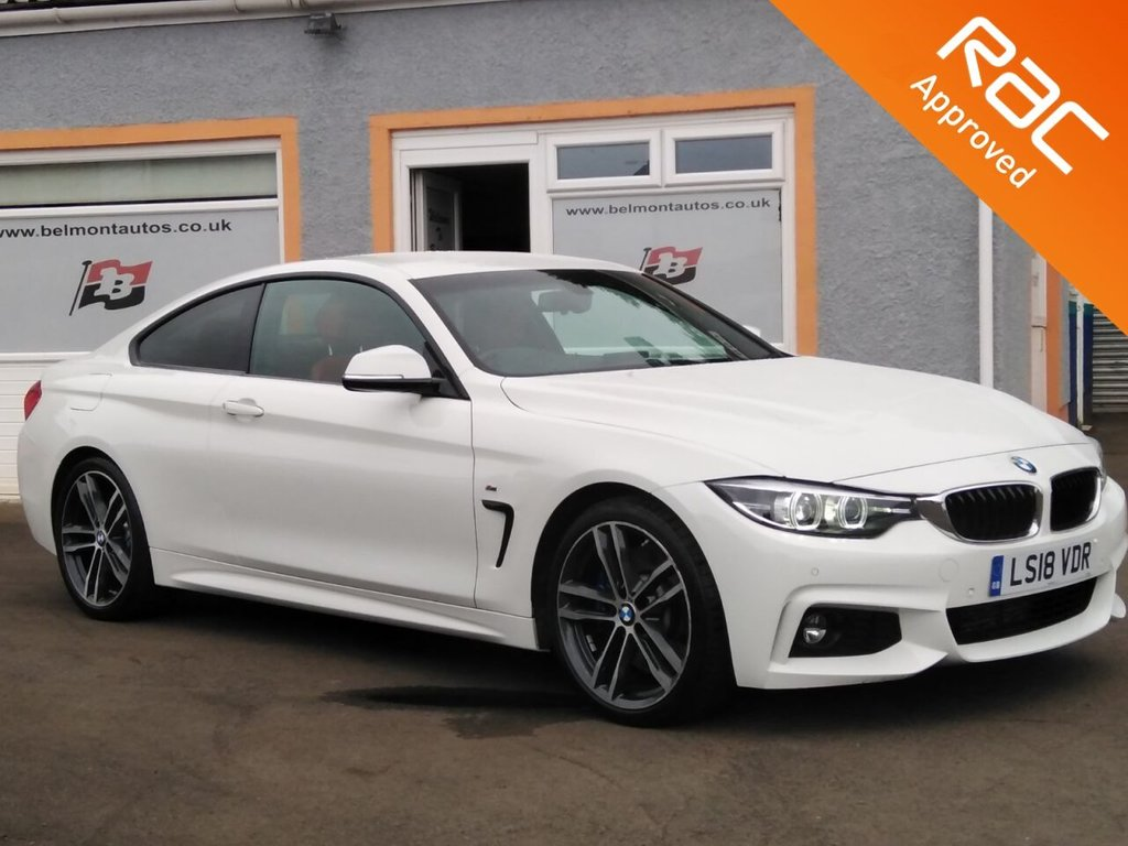 "USED 2018 18 BMW 4 SERIES 3.0 430D M SPORT 2d 255 BHP 19"" Alloys, Red Leather, Colour Sat Nav, Bluetooth, Parking Sensors, Heated Electric Memory Seats"