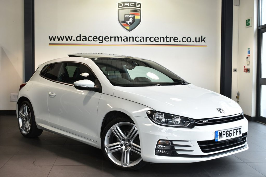 "USED 2016 66 VOLKSWAGEN SCIROCCO 2.0 R LINE TDI BLUEMOTION TECHNOLOGY 2DR 150 BHP Finished in a stunning white styled with 19"" alloys . Upon opening the drivers door you are presented with full black leather interior, full service history, satellite navigation, sunroof, bluetooth, heated sport seats, cruise control, DAB radio, xenon lights, multi functional steering wheel, heated mirrors, climate control, parking sensors"