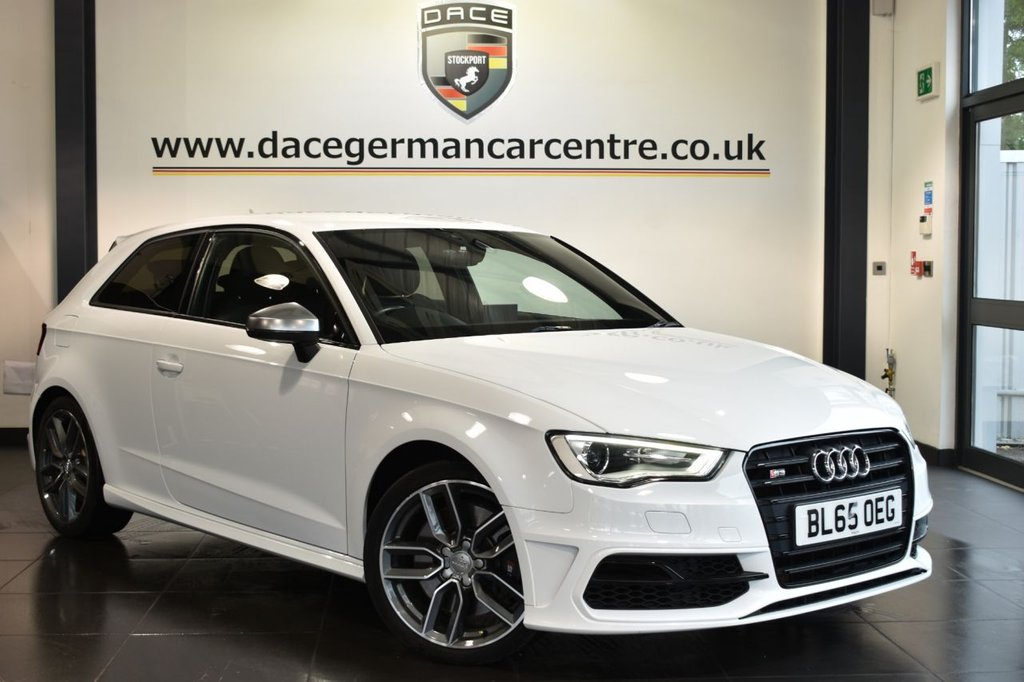 """USED 2015 65 AUDI S3 2.0 QUATTRO NAV 3DR 296 BHP Finished in a stunning white styled with 18"""" alloys. Upon opening the drivers door you are presented with full leather interior, full service history, satellite navigation, bluetooth, heated sport seats, cruise control, xenon lights, multi functional steering wheel, climate control, heated mirrors"""