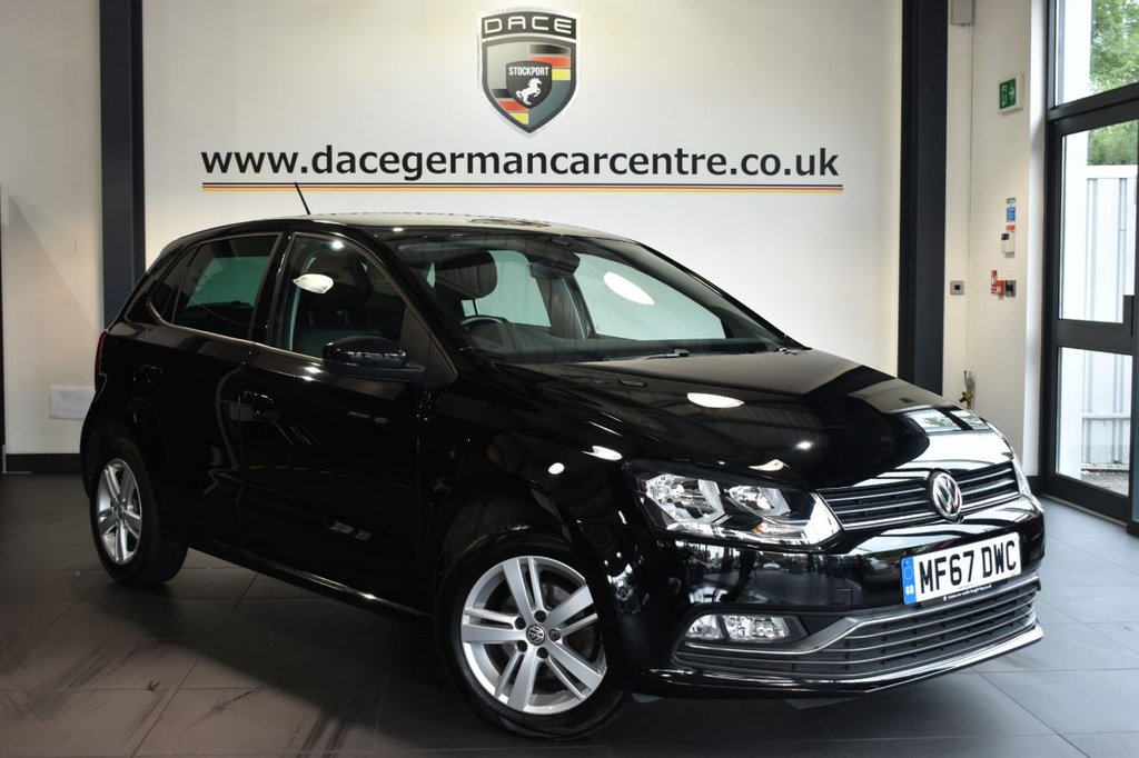"""USED 2017 67 VOLKSWAGEN POLO 1.2 MATCH EDITION TSI 5DR 89 BHP Finished in a stunning black styled with 15"""" alloys. Upon opening the drivers door you are presented with cloth upholstery, full service history, bluetooth, DAB radio, cruise control, multi functional steering wheel, heated mirrors, air conditioning, parking sensors"""