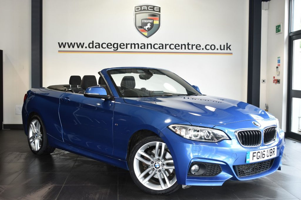 """USED 2016 16 BMW 2 SERIES 2.0 220D M SPORT 2DR 188 BHP Finished in a stunning estoril metallic blue styled with 18"""" alloys. Upon opening the drivers door you are presented with anthracite upholstery, full service history, satellite navigation, bluetooth, sport seats, xenon lights, DAB radio, Connected Drive Services, Headlight cleaning system, Rain sensors, parking sensors"""