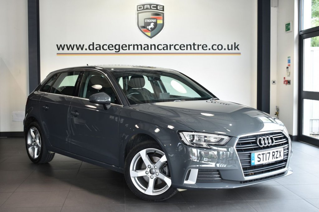 """USED 2017 17 AUDI A3 1.6 TDI SPORT 3DR 114 BHP Finished in a stunning grey styled with 17"""" alloys. Upon opening the drivers door you are presented with cloth upholstery, full service history, bluetooth, DAB radio, cruise control, sport seats, multi functional steering wheel, heated mirrors, climate control"""