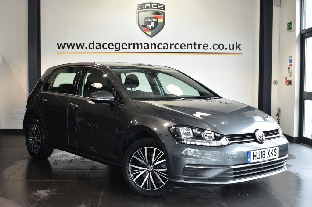 "USED 2018 18 VOLKSWAGEN GOLF 1.6 SE NAVIGATION TDI BLUEMOTION TECHNOLOGY 5DR 114 BHP Finished in a stunning metallic grey styled with 16"" alloys. Upon opening the drivers door you are presented with cloth uphostery, full service history, satellite navigation, bluetooth, DAB radio, cruise control, multi functional steering wheel, heated electric folding mirrors, parking sensors"