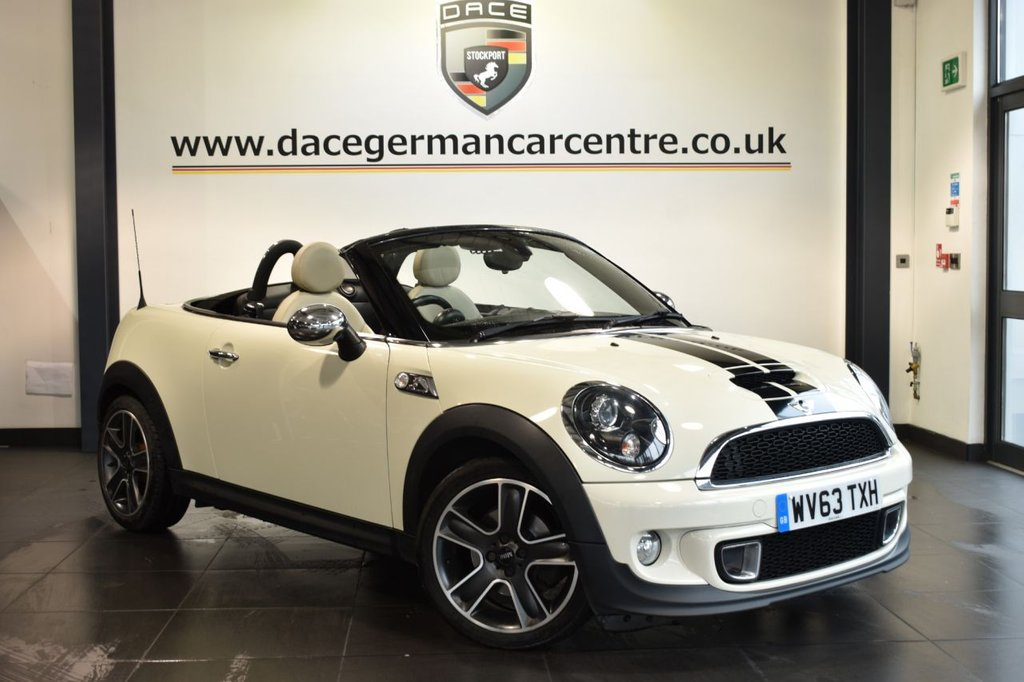 "USED 2013 63 MINI ROADSTER 2.0 COOPER SD 2DR 141 BHP Finished in a stunning pepper white styled with 17"" alloys. Upon opening the drivers door you are presented with leather interior, full service history, satellite navigation, bluetooth, heated sport seats, xenon lights, DAB radio, MINI Connected, Multifunction steering wheel, Headlight cleaning system, Automatic air conditioning, rain sensors, Voice control, Radio MINI Visual Boost, parking sensors"