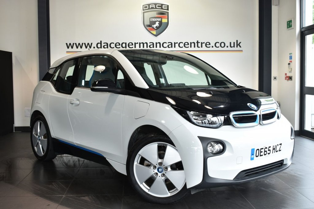 "USED 2015 65 BMW I3 0.6 I3 RANGE EXTENDER 5DR AUTO 168 BHP Finished in a stunning capparis white styled with 19"" alloys. Upon opening the drivers door you are presented with cloth upholstery, full service history, satellite navigation, bluetooth, heated seats, cruise control, Interior/outside mirror with auto dip, Rapid charging, alternating current, Multifunction steering wheel, Automatic air conditioning, Rain sensors, Connected Drive Services"