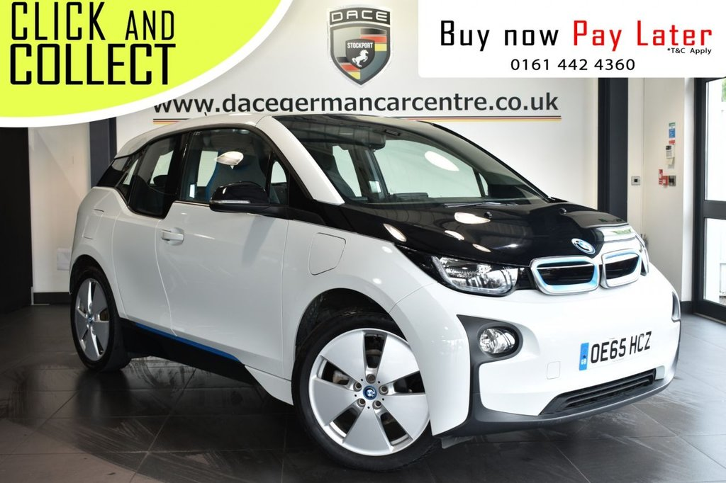 """USED 2015 65 BMW I3 0.6 I3 RANGE EXTENDER 5DR AUTO 168 BH+ SAT NAV + 1 OWNER  Finished in a stunning capparis white styled with 19"""" alloys. Upon opening the drivers door you are presented with cloth upholstery, full service history, satellite navigation, bluetooth, heated seats, cruise control, Interior/outside mirror with auto dip, Rapid charging, alternating current, Multifunction steering wheel, Automatic air conditioning, Rain sensors, Connected Drive Services"""