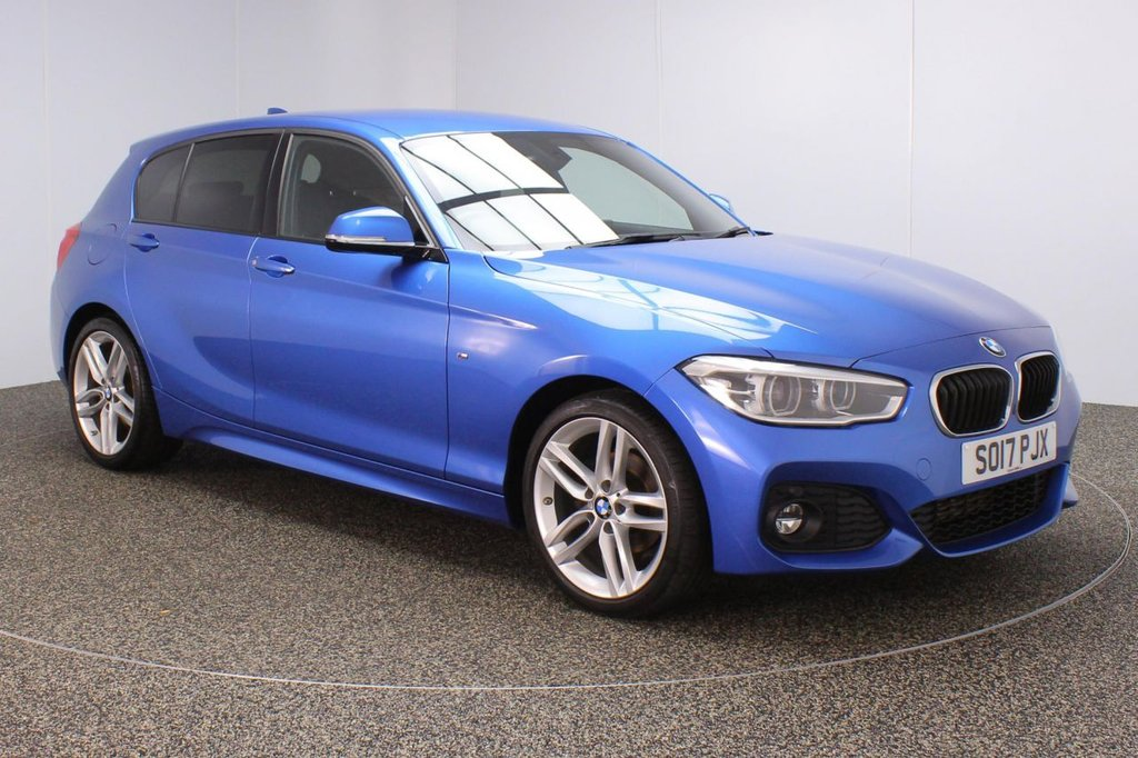 USED 2017 17 BMW 1 SERIES 1.5 118I M SPORT 5DR 1 OWNER 134 BHP FULL BMW SERVICE HISTORY + ALCANTARA UPHOLSTERY + SATELLITE NAVIGATION + PARKING SENSOR + BLUETOOTH + CRUISE CONTROL + AIR CONDITIONING + MULTI FUNCTION WHEEL + PRIVACY GLASS + XENON HEADLIGHTS + DAB RADIO + RADIO/CD/AUX/USB + ELECTRIC WINDOWS + ELECTRIC MIRRORS + 18 INCH ALLOY WHEELS