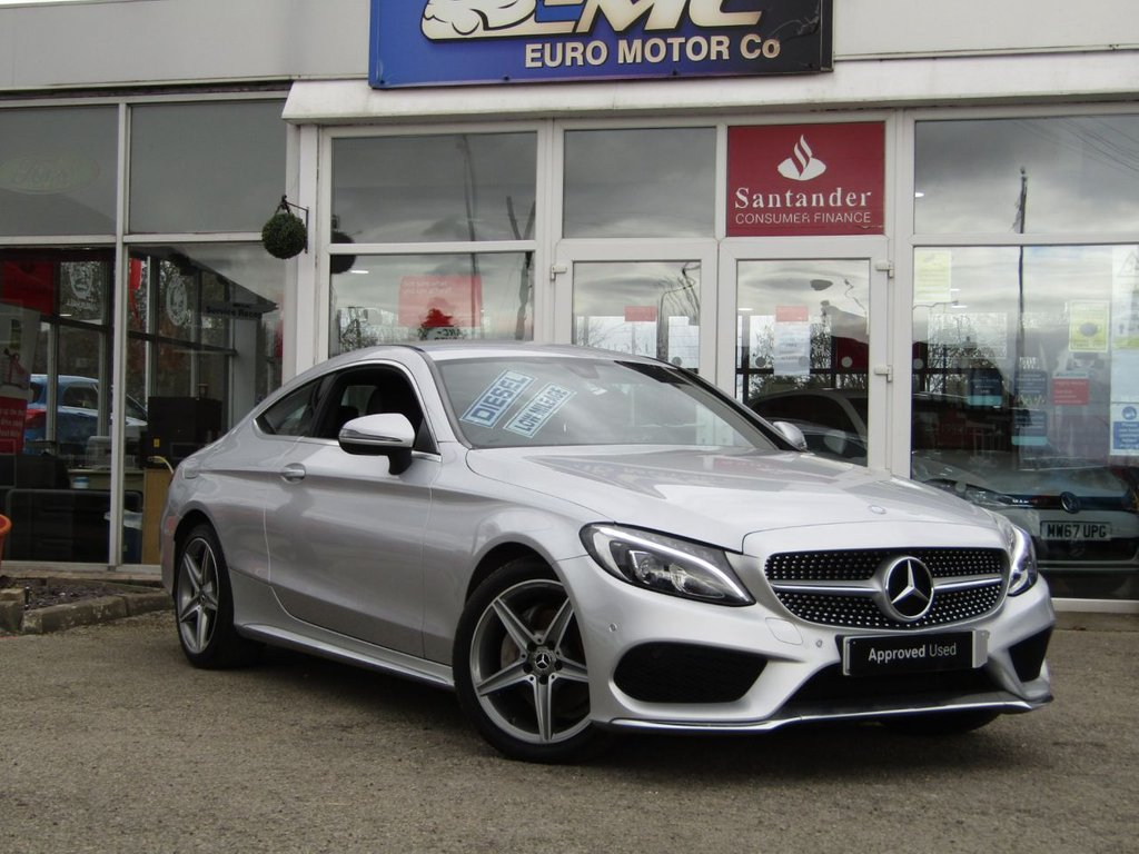 USED 2017 17 MERCEDES-BENZ C-CLASS 2.1 C 220 D AMG LINE 2d 168 BHP Finished in IRIDIUM SILVER with contrasting BLACK SPORTS LEATHER trim. This dynamic looking coupe has every extra you could want. It is sporty and agile and great fun to drive. Features include, Rear View Camera, Heated Leather seats, DAB radio, Cruise Control and much more. Just Serviced and 12 Months MOT