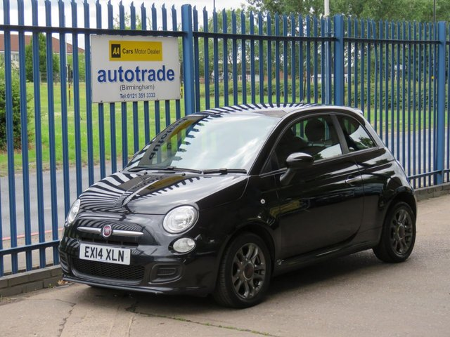 USED 2014 14 FIAT 500 1.2 S 3d 69 BHP BLUETOOTH WITH VOICE CONTROL, AIR CON, ALLOYS, LOW INSURANCE CD RADIO, LEATHER SPORTS STEERING WHEEL.