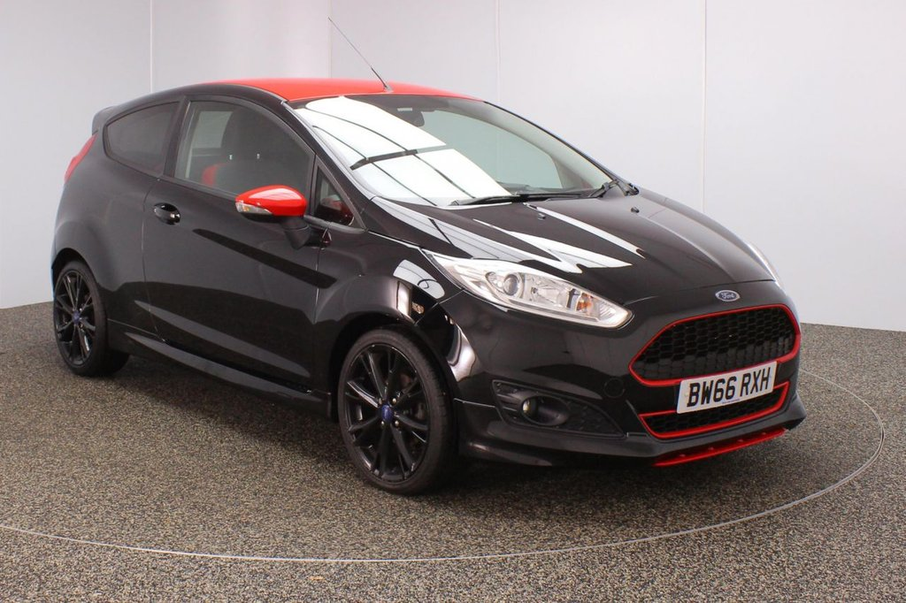 USED 2016 66 FORD FIESTA 1.0 ZETEC S BLACK EDITION 3DR 139 BHP FULL SERVICE HISTORY + £20 12 MONTHS ROAD TAX + PARKING SENSOR + BLUETOOTH + MULTI FUNCTION WHEEL + DAB RADIO + AIR CONDITIONING + RADIO/CD/AUX/USB + PRIVACY GLASS + ELECTRIC WINDOWS + ELECTRIC/HEATED DOOR MIRRORS + 17 INCH ALLOY WHEELS