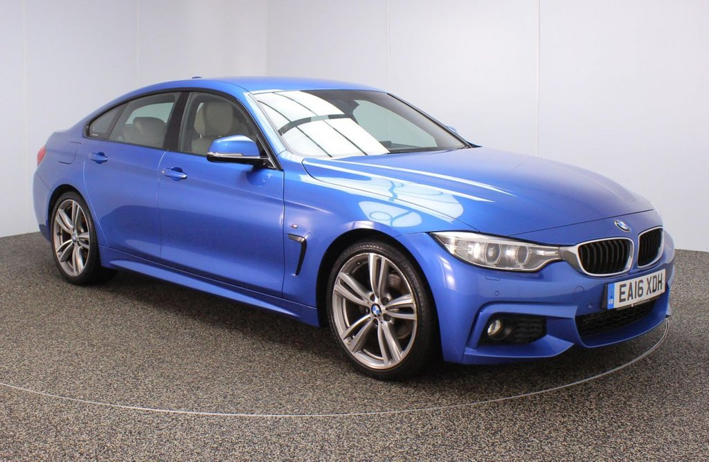 USED 2016 16 BMW 4 SERIES GRAN COUPE 2.0 420D M SPORT GRAN COUPE 4DR 1 OWNER AUTO 188 BHP FULL BMW SERVICE HISTORY + £30 12 MONTHS ROAD TAX + HEATED LEATHER SEATS + SATELLITE NAVIGATION PROFESSIONAL + PARKING SENSOR + BLUETOOTH + CRUISE CONTROL + CLIMATE CONTROL + MULTI FUNCTION WHEEL + DAB RADIO + XENON HEADLIGHTS + ELECTRIC WINDOWS + ELECTRIC MIRRORS + 19 INCH ALLOY WHEELS