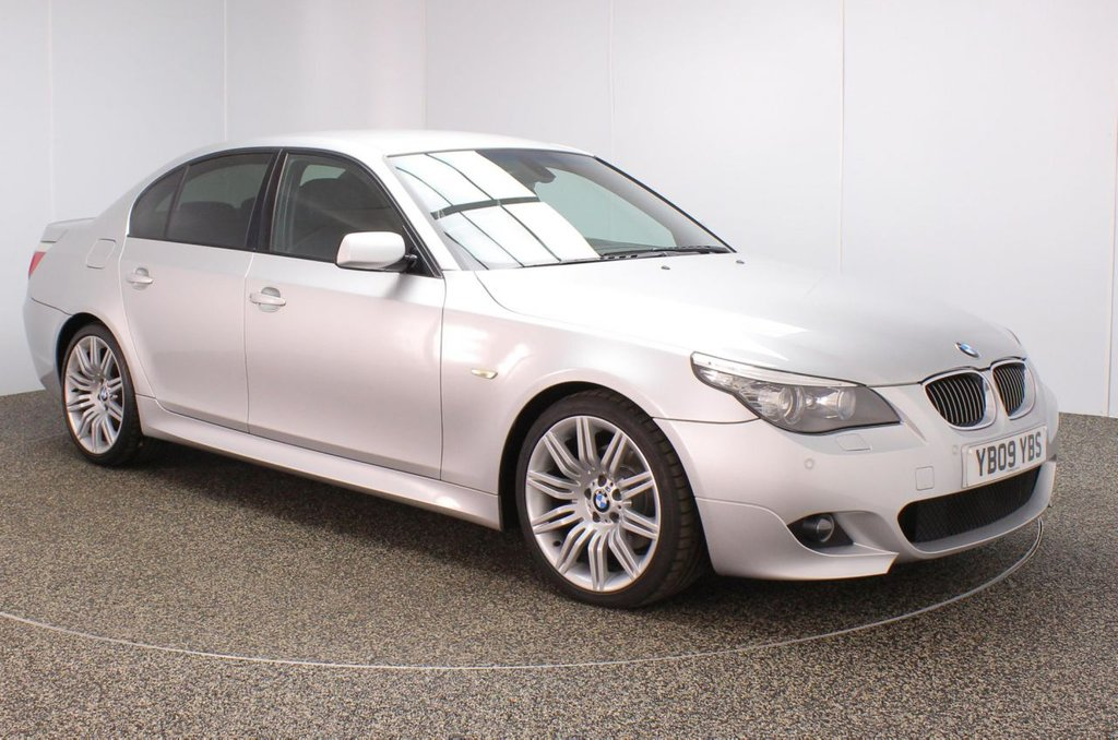 USED 2009 09 BMW 5 SERIES 3.0 525D M SPORT BUSINESS EDITION 4DR AUTO 195 BHP FULL SERVICE HISTORY + HEATED LEATHER SEATS + SATELLITE NAVIGATION PROFESSIONAL + PARKING SENSOR + BLUETOOTH + CRUISE CONTROL + CLIMATE CONTROL + MULTI FUNCTION WHEEL + XENON HEADLIGHTS + PRIVACY GLASS + RADIO/CD/AUX/USB + PART ELECTRIC FRONT SEATS + ELECTRIC WINDOWS + ELECTRIC MIRRORS + 19 INCH ALLOY WHEELS
