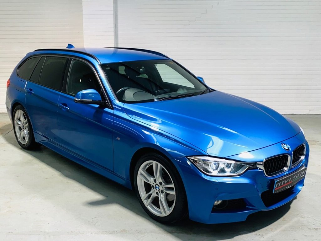USED 2014 14 BMW 3 SERIES 2.0 320D M SPORT TOURING 5d 181 BHP Estoril Blue with Black Leather Interior, Sat Nav, Harman Kardon Audio, Xenon Headlights, Privacy Glass