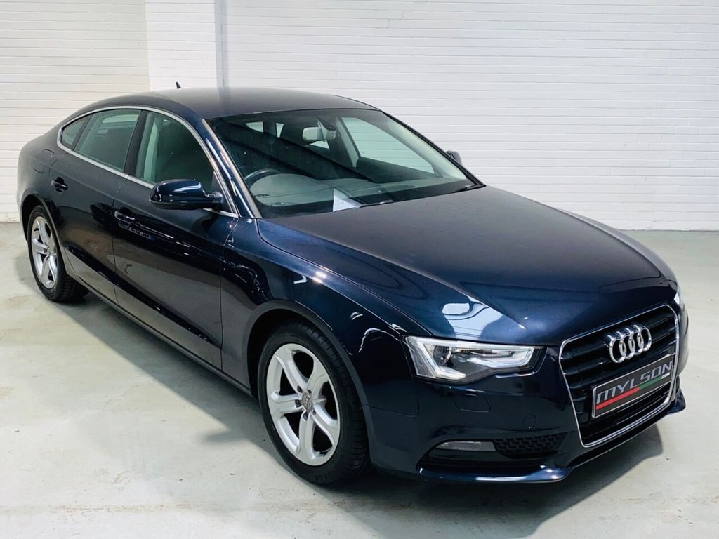 USED 2013 13 AUDI A5 2.0 SPORTBACK TDI SE TECHNIK 5d 161 BHP Metallic Blue with Black Leather Interior, High Spec including Xenon + Lights, B&O Audio System, Heated Seats, MMI Media/Sat Nav System