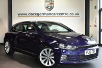 """USED 2016 16 VOLKSWAGEN SCIROCCO 1.4 GT TSI BLUEMOTION TECHNOLOGY 2DR 123 BHP Finished in a stunning metallic purple styled with 18"""" alloys. Upon opening the drivers door you are presented with half leather interior, full service history, satellite navigation, bluetooth, DAB radio, cruise control, multi functional steering wheel, heated mirrors, parking sensors"""
