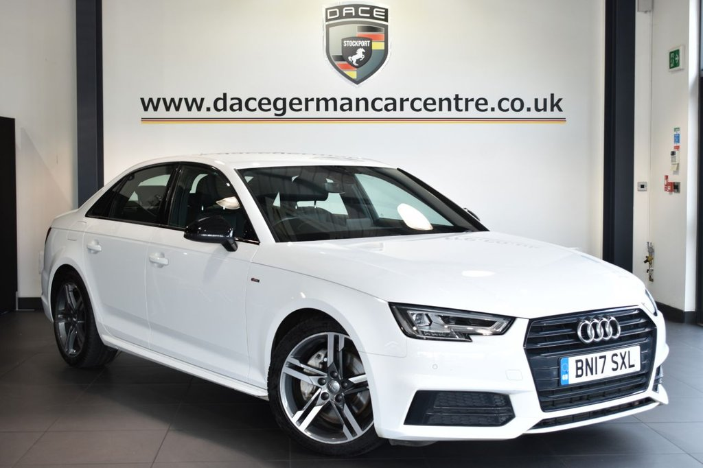 "USED 2017 17 AUDI A4 2.0 TDI ULTRA S LINE 4DR 188 BHP Finished in a stunning white styled with 18""  alloys. Upon opening the drivers door you are presented with half leather interior, full service history, satellite navigation, bluetooth, heated sport seats, DAB radio, climate control, heated mirrors, xenon lights, multi functional steering wheel, parking sensors"