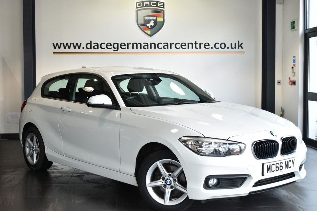 """USED 2017 66 BMW 1 SERIES 1.5 118I SE 3DR 134 BHP Finished in a stunning alpine white styled with 16"""" alloys. Upon opening the drivers door you are presented with anthracite upholstery, full service history, satellite navigation, bluetooth, DAB radio, sport seats, Multifunction steering wheel, Connected Drive Services, rain sensors"""