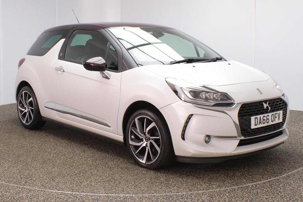 USED 2016 66 DS DS 3 1.2 PURETECH GIVENCHY LE MAKEUP S/S 3DR 1 OWNER 109 BHP FULL SERVICE HISTORY + FREE 12 MONTHS ROAD TAX + LEATHER SEATS + SATELLITE NAVIGATION + PARKING SENSOR + BLUETOOTH + CRUISE CONTROL + CLIMATE CONTROL + DAB RADIO + PRIVACY GLASS + XENON HEADLIGHTS + ELECTRIC WINDOWS + ELECTRIC/HEATED/FOLDING DOOR MIRRORS + 17 INCH ALLOY WHEELS