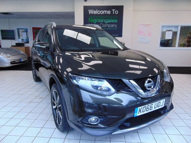 "USED 2017 66 NISSAN X-TRAIL 1.6 N-VISION DCI XTRONIC 5d 130 BHP FULL SERVICE HISTORY + FEB 2021 MOT + SATELLITE NAVIGATION + BLUETOOTH + PANORAMIC GLASS SUNROOF +CRUISE CONTROL + AIR CONDITIONING + 19"" ALLOYS + ROOF RAILS + REMOTE CENTRAL LOCKING + 7 SEATS + ISOFIX + LED DAYTIME RUNNING LIGHTS  +  ALL ROUND VIEW MONITORS + DAB RADIO + FRONT FOG LIGHTS"