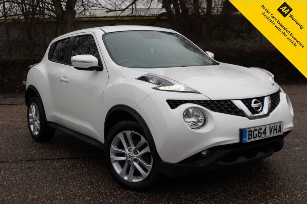USED 2014 64 NISSAN JUKE 1.2 ACENTA PREMIUM DIG-T 5d 115 BHP **ULEZ COMPLIANT ** BRAND NEW MOT + NEW TYRES ** UPGRADED PEARL WHITE PAINT ** BLUETOOTH ** SAT NAV ** REAR PARKING CAMERA ** CRUISE CONTROL ** AIR CONDITIONING ** ALLOY WHEELS  ** LOW INSURANCE COSTS ** LOW RATE FINANCE AVAILABLE ** CLICK & COLLECT + NATIONWIDE DELIVERY AVAILABLE ** BUILD & SAVE YOUR DEAL TODAY ONLINE ** BUY ONLINE IN CONFIDENCE FROM A MULTI AWARD WINNING 5* RATED DEALER **