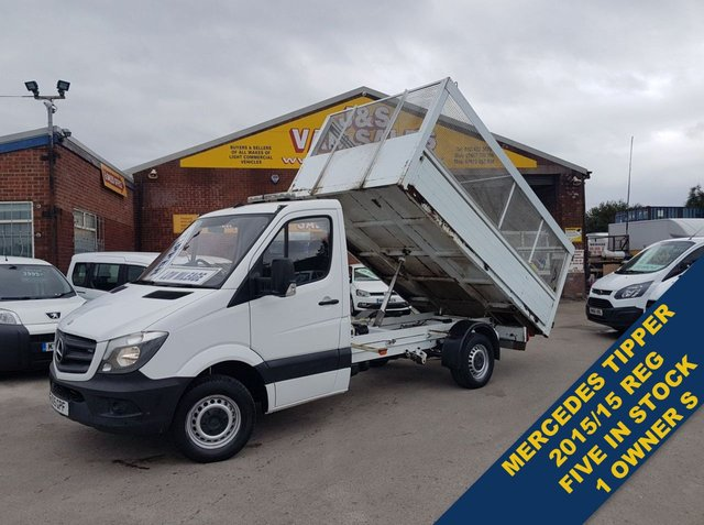 USED 2015 15 MERCEDES-BENZ SPRINTER TIPPER ALLOY DROP SIDE CAGED BENZS DIRECT  SPRINTER TIPPER FIVE IN STOCK WWW.JSVANS.CO.UK