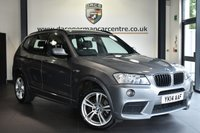 """USED 2014 14 BMW X3 2.0 XDRIVE20D M SPORT 5DR AUTO 181 BHP Finished in a stunning space metallic grey styled with 19"""" alloys. Upon opening the drivers door you are presented with full leather interior, full service history, satellite navigation, bluetooth, heated seats, cruise control, DAB radio, Automatic air conditioning, light package, rain sensors, Multifunction steering wheel, parking sensors"""
