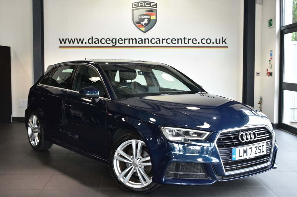 """USED 2017 17 AUDI A3 1.6 TDI S LINE 5DR 114 BHP Finished in a stunning metallic blue styled with 18"""" alloys. Upon opening the drivers door you are presented with half leather interior, full service history, bluetooth, cruise control, xenon lights, DAB radio, sport seats, multi functional steering wheel, heated mirrors, air conditioning"""