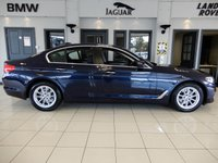 USED 2018 67 BMW 5 SERIES 2.0 520D SE 4d AUTO 188 BHP FINISHED IN STUNNING METALLIC BLUE AND COMPLIMENTED BY FULL BLACK LEATHER HEATED SEATS WITH ELECTRIC ADJUSTMENT + 1 OWNER LOW MILEAGE GEM WITH A FULL BMW MAIN DEALER SERVICE HISTORY + SATELLITE NAVIGATION + BLUETOOTH PHONE CONNECTIVITY AND BLUETOOTH MEDIA + DAB DIGITAL RADIO + AMBIENT LIGHTING + DIGITAL DASH + VOICE COMMAND + AUTOMATIC ADAPTIVE CRUISE CONTROL + DUAL ZONE AIR CONDITIONING + CLIMATE CONTROL + AUTO HEADLIGHTS WITH LED DAYTIME RUNNING LIGHTS + VOICE COMMAND + AUTO HOLD + SELECTABLE