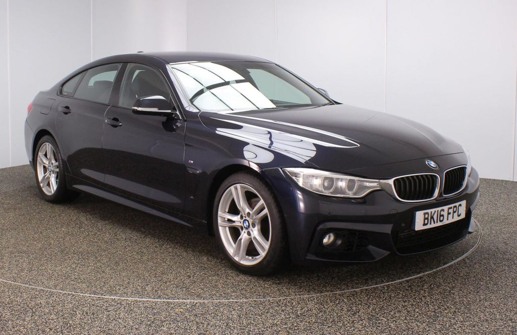 USED 2016 16 BMW 4 SERIES GRAN COUPE 2.0 418D M SPORT GRAN COUPE 4DR 1 OWNER AUTO 148 BHP FULL SERVICE HISTORY + £30 12 MONTHS ROAD TAX + HEATED LEATHER SEATS + SATELLITE NAVIGATION PROFESSIONAL + PARKING SENSOR + BLUETOOTH + CRUISE CONTROL + CLIMATE CONTROL + MULTI FUNCTION WHEEL + XENON HEADLIGHTS + DAB RADIO + ELECTRIC WINDOWS + ELECTRIC MIRRORS + 18 INCH ALLOY WHEELS