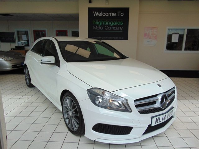 """USED 2014 14 MERCEDES-BENZ A-CLASS 1.5 A180 CDI BLUEEFFICIENCY AMG SPORT 5d 109 BHP SERVICE HISTORY + LONG MOT + BLUETOOTH + LOW CAR TAX + ALLOY WHEELS + CRUISE CONTROL + AIR CONDITIONING + REMOTE CENTRAL LOCKING + ELECTRIC WINDOWS + 5.8"""" TABLET COLOUR DISPLAY SYSTEM + AUDIO 20 RADIO/SINGLE CD PLAYER + DAYTIME RUNNING LIGHTS + ISOFIX + FRONT SPORT SEATS + DRIVERS SEAT HEIGHT ADJUSTMENT"""