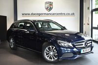 """USED 2016 16 MERCEDES-BENZ C-CLASS 2.1 C220 D SPORT 5DR AUTO 170 BHP Finished in a stunning cavansite metallic blue styled with 17"""" alloys. Upon opening the drivers door you are presented with full leather interior, full service history, satellite navigation, bluetooth, heated seats, reversing camera, cruise control, DAB radio, touchpad with rotary pushbutton, elelctric folding mirrors, ambient lighting, parking package, mirror package, active park assist"""