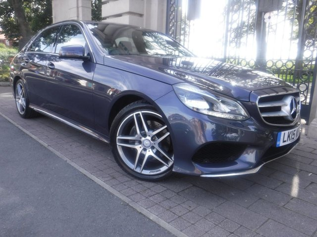 USED 2015 15 MERCEDES-BENZ E-CLASS 2.1 E220 BLUETEC AMG LINE 4d 174 BHP *** FINANCE & PART EXCHANGE WELCOME *** SAT/NAV BLUETOOTH PHONE HALF LEATHER &SUEDE INTERIOR HEATED SEATS FRONT & REAR PARKING SENSORS