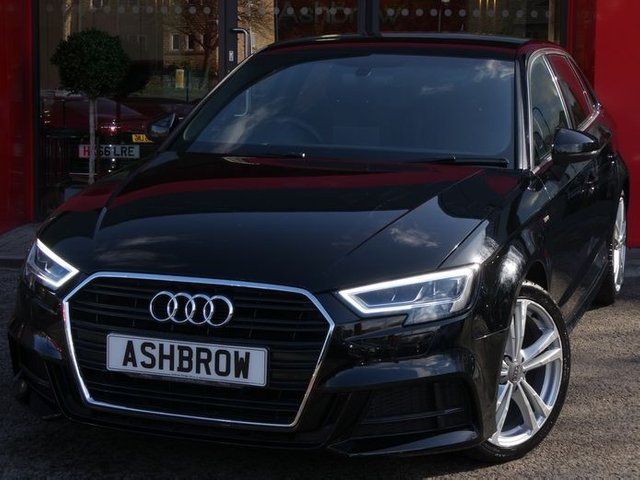USED 2017 67 AUDI A3 SPORTBACK 1.5 TFSI S LINE 5d 150 S/S FULL SERVICE HISTORY, BALANCE OF AUDI WARRANTY, MANUAL 6 SPEED, SAT NAV, BLACK 1/2 LEATHER, REAR PARKING SENSORS, DAB RADIO, BLUETOOTH PHONE & MUSIC STREAMING, CRUISE CONTROL, LED LIGHTS WITH DAYTIME RUNNING LIGHTS & REAR DIRECTIONAL SWEEPING INDICATORS, AUDI SMARTPHONE INTERFACE FOR APPLE CARPLAY / ANDROID AUTO, AUDI DRIVE SELECT, LEATHER FLAT BOTTOM MULTI FUNCTION STEERING WHEEL, AUTO LIGHTS & WIPERS, AUDI CONNECT, WIRELESS LAN, DUAL ZONE CLIMATE CONTROL A/C