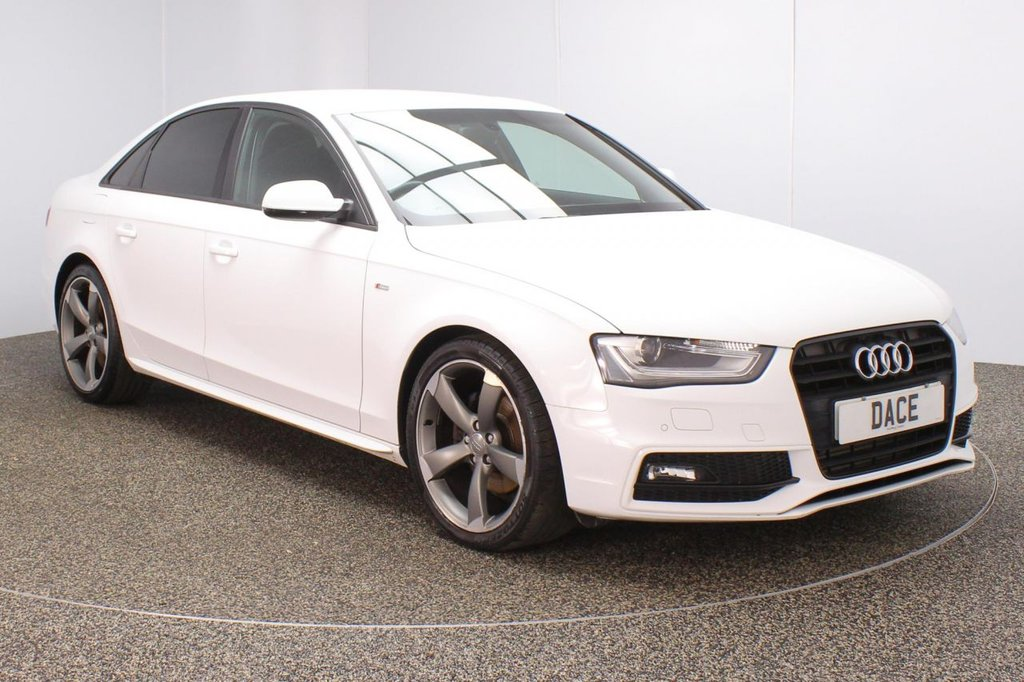 USED 2013 13 AUDI A4 2.0 TDI BLACK EDITION 4DR 1 OWNER 174 BHP FULL SERVICE HISTORY + £30 12 MONTHS ROAD TAX + LEATHER SEATS + PARKING SENSOR + BLUETOOTH + CRUISE CONTROL + CLIMATE CONTROL + MULTI FUNCTION WHEEL + XENON HEADLIGHTS + PRIVACY GLASS + DAB RADIO + BANG & OLUFSEN PREMIUM SPEAKERS + ELECTRIC WINDOWS + ELECTRIC/HEATED DOOR MIRRORS + 19 INCH ALLOY WHEELS