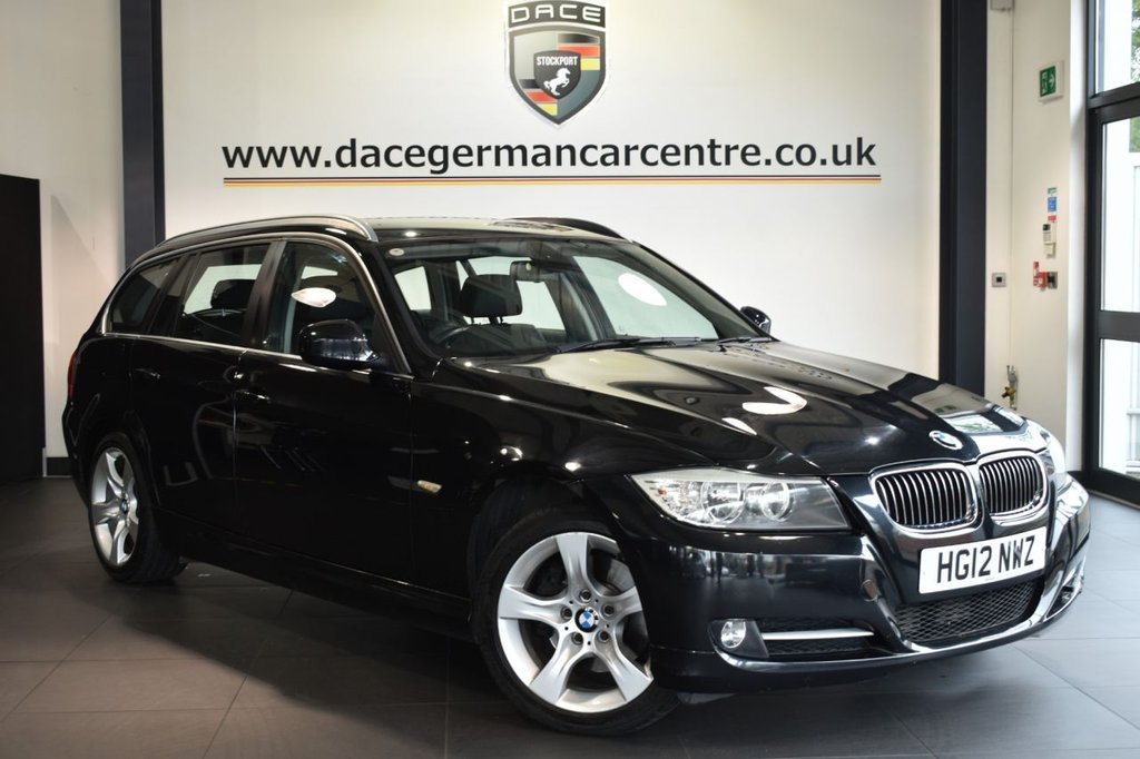 """USED 2012 12 BMW 3 SERIES 2.0 318D EXCLUSIVE EDITION TOURING 5DR AUTO 141 BHP Finished in a stunning sapphire metallic black styled with 17"""" alloys. Upon opening the drivers door you are presented with full black leather interior, full service history, bluetooth, heated seats, Automatic air conditioning, rain sensors, Multifunction steering wheel, electric folding mirrors, parking sensors"""