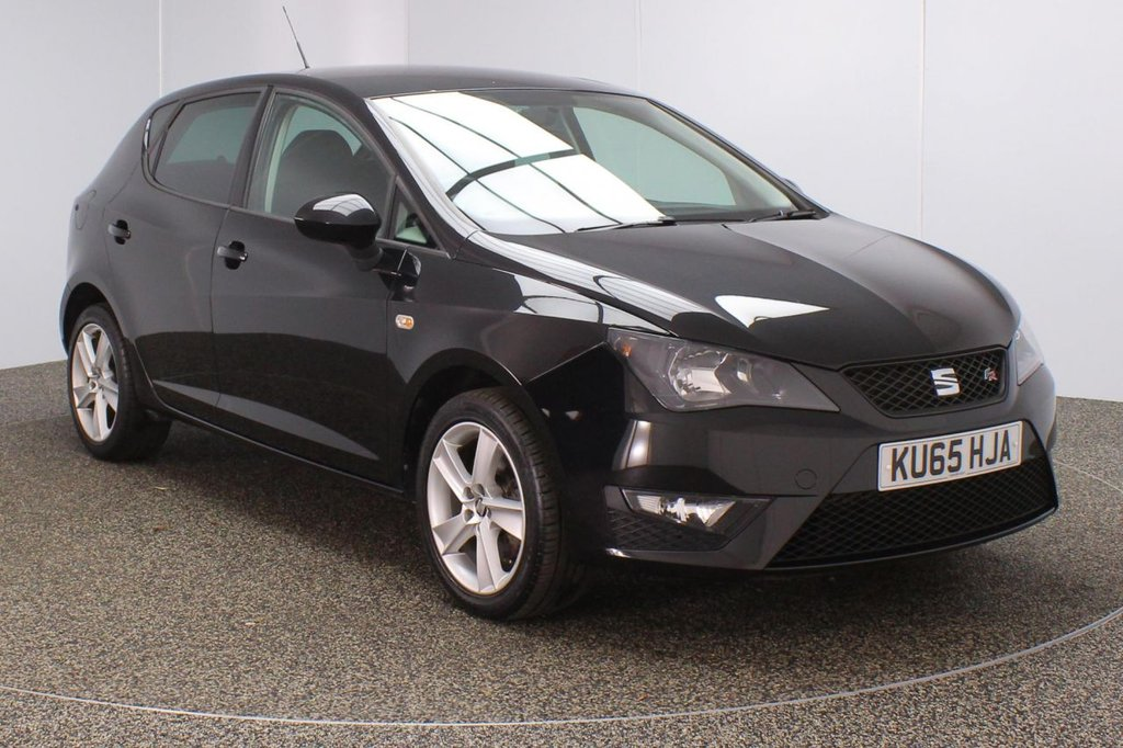 USED 2015 65 SEAT IBIZA 1.4 TSI ACT FR BLACK 5DR 140 BHP FULL SERVICE HISTORY + £20 12 MONTHS ROAD TAX + HALF LEATHER SEATS + SATELLITE NAVIGATION + BLUETOOTH + CRUISE CONTROL + AIR CONDITIONING + DAB RADIO + RADIO/CD/AUX + PRIVACY GLASS + ELECTRIC WINDOWS + ELECTRIC MIRRORS + 16 INCH ALLOY WHEELS