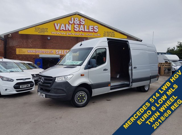 USED 2018 68 MERCEDES-BENZ SPRINTER LWB HI ROOF TWIN WHEEL 514 HGV VAN 6K MLS  AIR CON  ((((( RARE MODEL WATCH H/D VIDEO READ FULL INFO )))))))