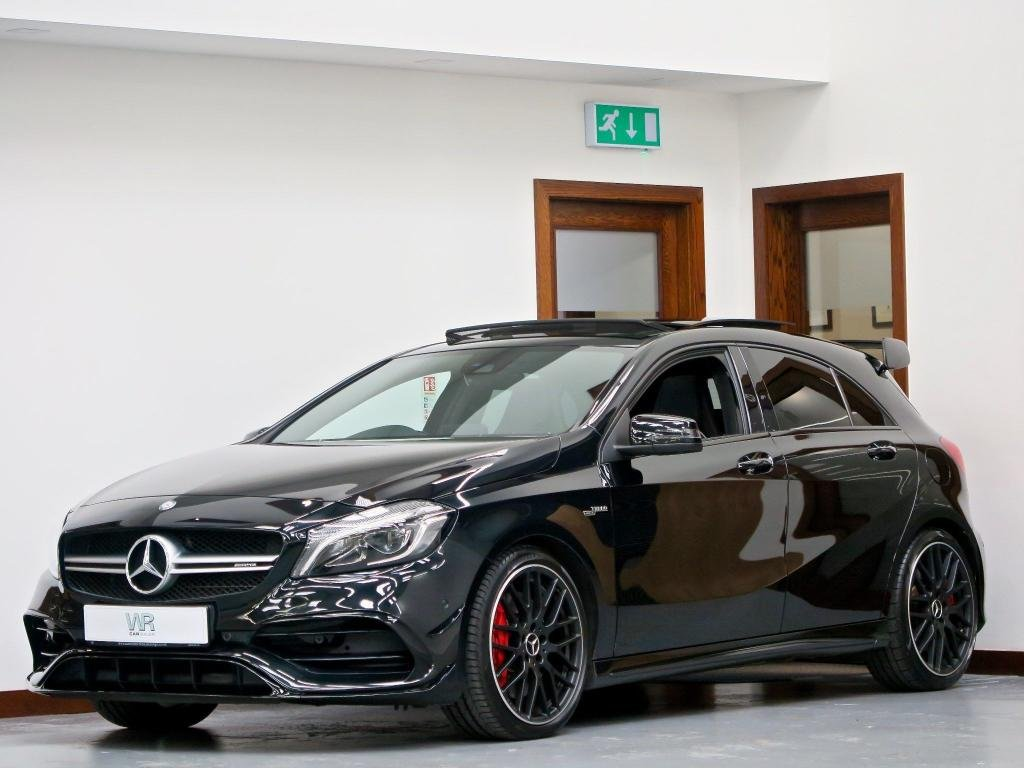 USED 2016 66 MERCEDES-BENZ A-CLASS 2.0 A45 AMG (Premium) SpdS DCT 4MATIC (s/s) 5dr PAN ROOF + AERO KIT + H/KARDON