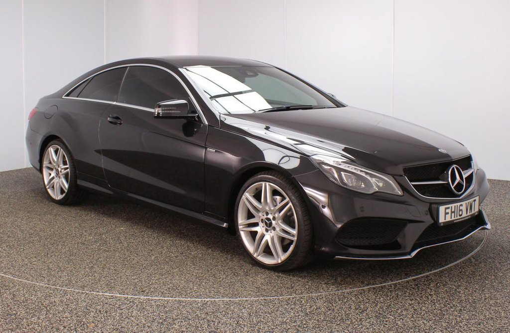 USED 2016 16 MERCEDES-BENZ E-CLASS 2.1 E 220 D AMG LINE EDITION 2DR 174 BHP FULL SERVICE HISTORY + HEATED LEATHER SEATS + SATELLITE NAVIGATION + PARKING SENSOR + BLUETOOTH + CRUISE CONTROL + CLIMATE CONTROL + MULTI FUNCTION WHEEL + DAB RADIO + PRIVACY GLASS + XENON HEADLIGHTS + ELECTRIC FRONT SEATS + ELECTRIC WINDOWS + ELECTRIC/FOLDING DOOR MIRRORS + 19 INCH ALLOY WHEELS