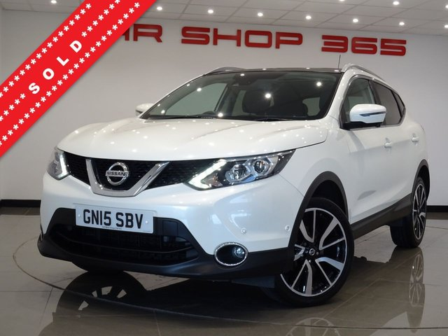 "USED 2015 15 NISSAN QASHQAI 1.5 DCI (114 BHP) TEKNA 5DR..PEARLESCENT WHITE..NAV..PANORAMIC ROOF..HEATED LEATHERS..BOSE..CRUISE..360 CAMERA..PRIVACY..19 S..VERY HIGH SPEC !! PAN ROOF+19""+R/CAM+HEATED LEATHERS+NAV+CRUISE+MEDIA"