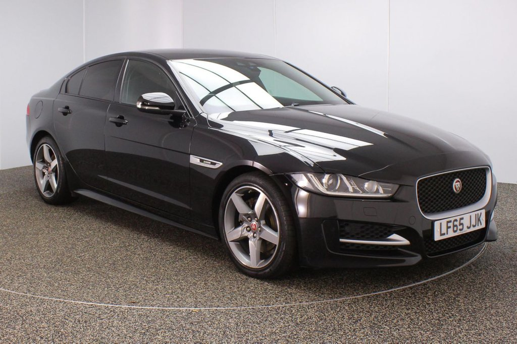 USED 2015 65 JAGUAR XE 2.0 R-SPORT 4DR 1 OWNER 178 BHP FULL JAGUAR SERVICE HISTORY + £20 12 MONTHS ROAD TAX + HEATED LEATHER SEATS + SATELLITE NAVIGATION + PARKING SENSOR + BLUETOOTH + CRUISE CONTROL + MULTI FUNCTION WHEEL + CLIMATE CONTROL + PRIVACY GLASS + XENON HEADLIGHTS + LANE ASSIST SYSTEM + DAB RADIO + ELECTRIC WINDOWS + ELECTRIC/HEATED DOOR MIRRORS + 18 INCH ALLOY WHEELS