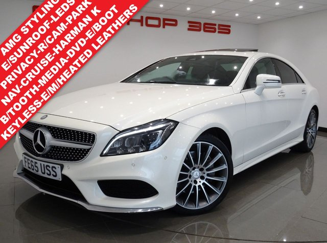 USED 2015 65 MERCEDES-BENZ CLS 3.0 CLS350D V6 BLUETEC AMG LINE (PREMIUM PLUS) 9G-TRONIC 4DR..NAV..E/SUNROOF..E/M/HEATED LEATHERS..HARMAN KARDON..KEYLESS GO..XENONS..LEDS..CRUISE..PEARLESCENT DIAMOND WHITE PAINTWORK 19 S+LED+RCAM+PARK AID+LEATHER+NAV+CRUISE+S/ROOF+HK